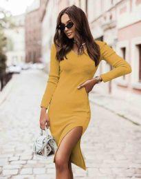 Изчистена дамска рокля в цвят горчица - код 6593