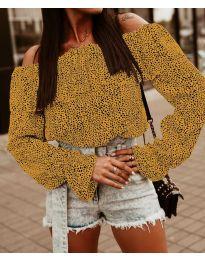 Блуза с лодка деколте в цвят горчица - код 5452