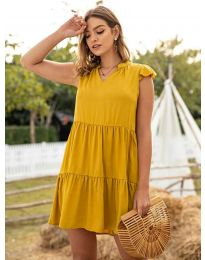Свободна дамска рокля в цвят горчица - код 696