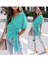 Изчистена дамска блуза в цвят тюркоаз - код 0009