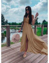 Дълга рокля с цепка в бежово - код 1174