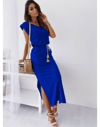 Изчистена рокля в тъмно синьо - код 6622