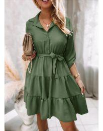 Дамска рокля в масленозелено - код 6970