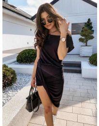 Дамска спортно-елегантна рокля в черно - код 138
