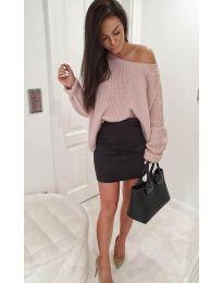 Дамски пуловер в цвят пудра - код 176