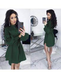 Елегантна рокля в маслено зелено - код 6364