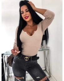 Бежова дамска блуза с голямо деколте - код 487