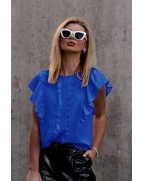 Тениска с волани в тъмно синьо - код 254