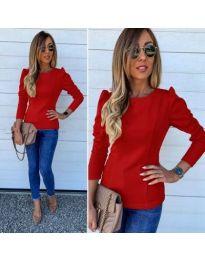 Изчистена дамска блуза с набори в червен цвят - код 368