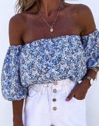 Дамска блуза с голи рамене в синьо - код 2075