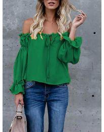 Блуза с лодка деколте в зелено - код 5574