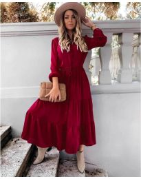 Дълга рокля в бордо  - код 5150