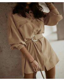 Свободна рокля в цвят капучино - код 6461