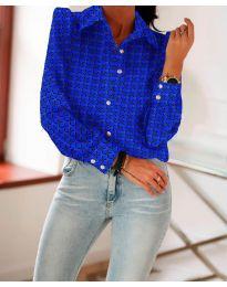 Класическа риза в  тъмно синьо с ефектен десен - код 654