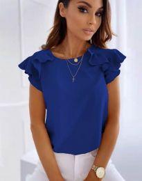 Блуза с ефектни ръкави в тъмносиньо - код 3299