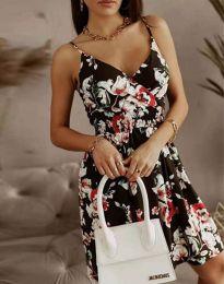 Дамска рокля с флорален десен - код 2581 - 2