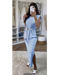 Дълга дамска рокля в светло синьо - код 7049