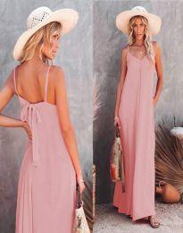 Свободна дамска рокля в светлорозово - код 4673
