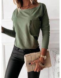 Дамска блуза в маслено зелено - код 0382