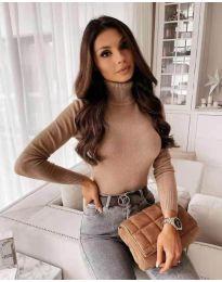 Дамска блуза с поло яка в цвят капучино - код 8861