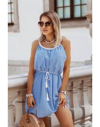 Изчистена рокля в светло синьо - код 8800