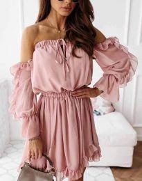 Атрактивна дамска рокля в цвят пудра - код 0223