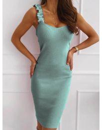 Дамска рокля с ефектни презрамки в цвят тюркоаз - код 029