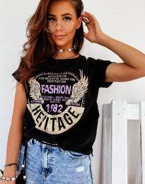 Атрактивна тениска с принт в черно - код 4658