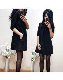 Черна дамска рокля с пандела - код 498