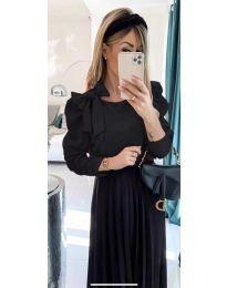 Стилна дамска блуза с пандела на рамото в черно - код 890