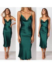 Зелена сатенена рокля с тънки презрамки- код 282
