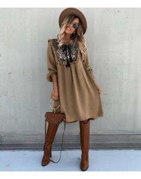 Свободна атрактивна рокля в кафяво - код 958