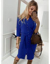 Ежедневна рокля с капси в синьо - код 320