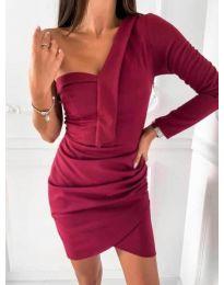 Елегантна рокля в бордо - код 2079