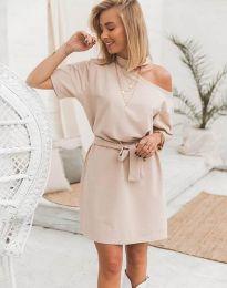 Дамска рокля в бежово с голо рамо - код 5848