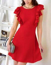 Дамска рокля в червено с къдрички - код 7111
