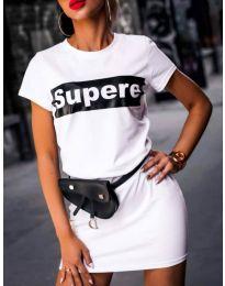 Дамска рокля с надпис SUPERE в бял цвят - код 217