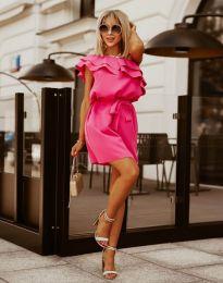 Кокетна дамска рокля в цвят циклама - код 7100