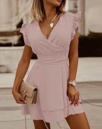 Ефирна дамска рокля в светлорозово - код 5654