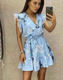 Атрактивна дамска рокля в светлосиньо - код 8125