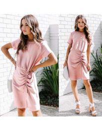 Изчистена рокля в цвят розово - код 835