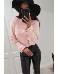 Риза с ефектни маншети в розово - код 905