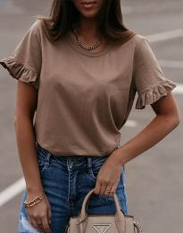 Дамска тениска в цвят капучино с къдрички - код 11763