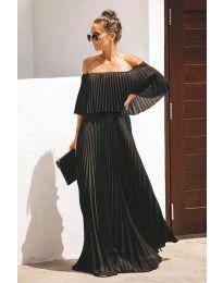 Дълга рокля плисе в черно - код 396