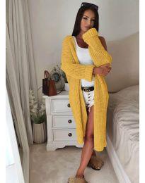 Дълга дамска жилетка в жълто - код 4085
