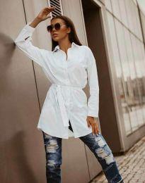 Дълга дамска риза в бяло - код 6739