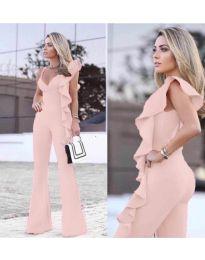 Стилен дамски гащеризон в розово - код 609