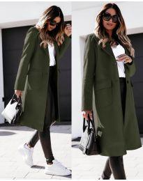 Дълго дамско палто в маслено зелено - код 3435