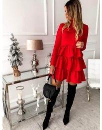 Стилна рокля с набори в червено - код 966