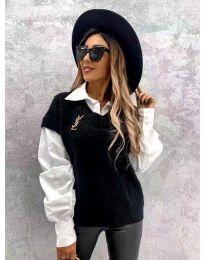 Черен дамски пуловер с риза - код 6653